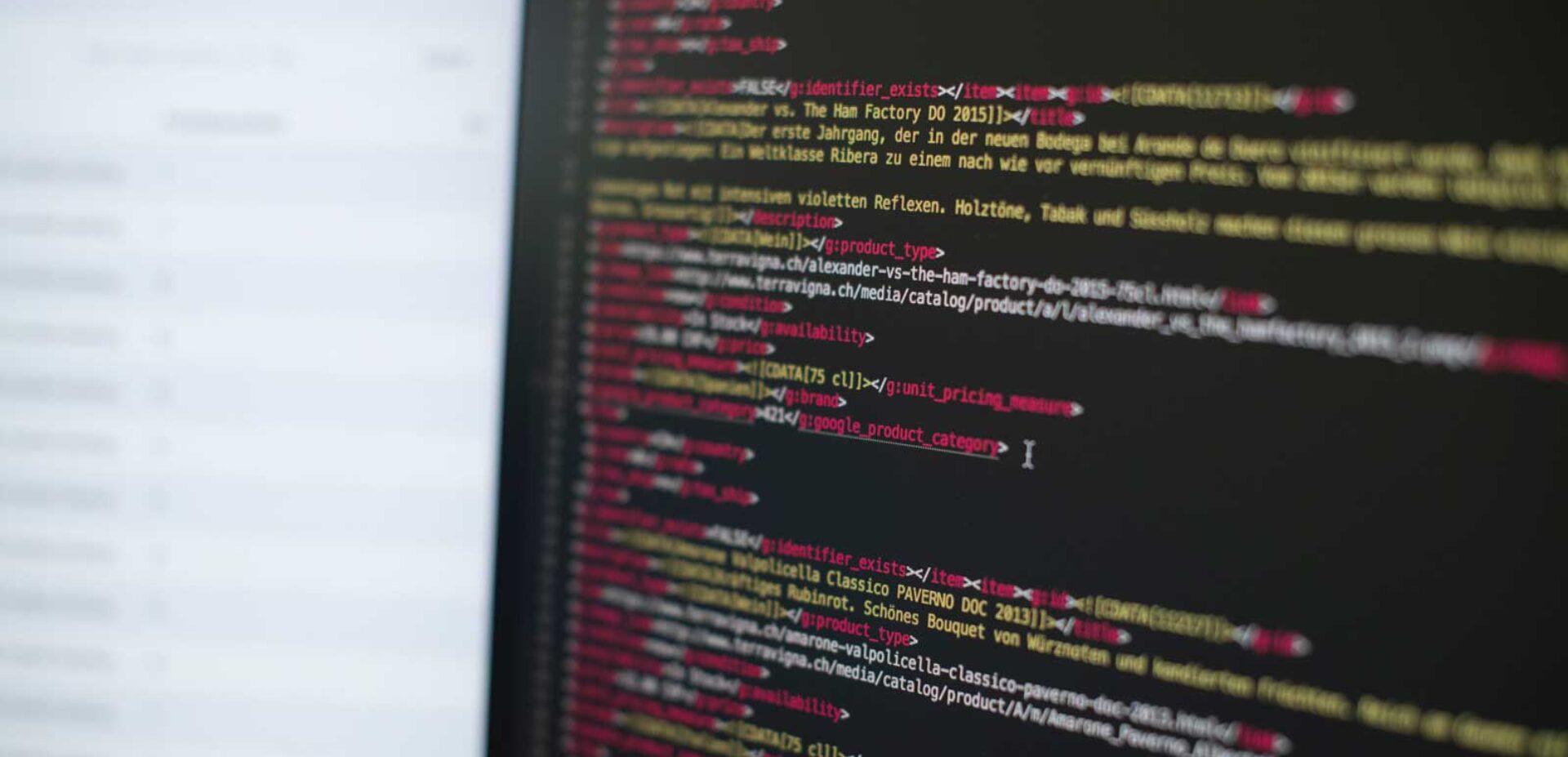 Detailaufnahme einer Code-Zeile